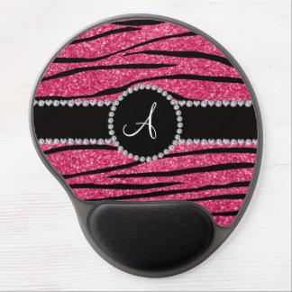Monogram pink glitter zebra stripes circle gel mousepad