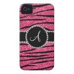 Monogram pink glitter zebra stripes circle iPhone 4 Case-Mate cases
