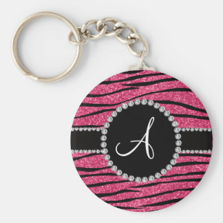 Monogram pink glitter zebra stripes circle keychain