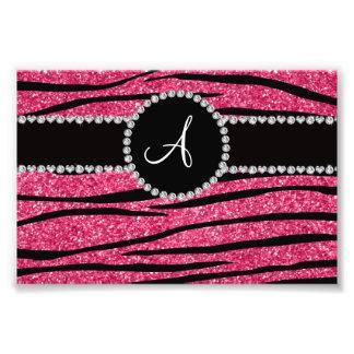 Monogram pink glitter zebra stripes circle photo