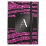 Monogram pink glitter zebra stripes iPad cover