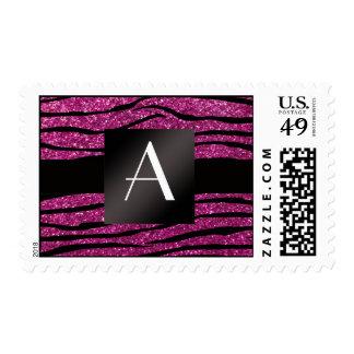 Monogram pink glitter zebra stripes postage stamp