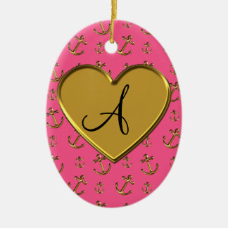 Monogram pink gold anchors heart Double-Sided oval ceramic christmas ornament