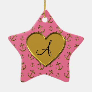 Monogram pink gold anchors heart Double-Sided star ceramic christmas ornament