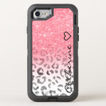 "Monogram pink gold glitter leopard watercolor OtterBox defender iPhone 8/7 case<br><div class=""desc"">A beautiful and monogram on a pretty faux pink gold glitter shower and ombre pattern fading onto a modern hand painted black and white watercolor leopard print pattern. Get this awesome girly trendy gold leopard pattern for her,  the fashionista who loves animal print pattern and glam</div>"