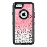 Monogram pink gold glitter leopard watercolor OtterBox defender iPhone case