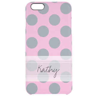 Monogram Pink Gray Chic Polka Dot Pattern Clear iPhone 6 Plus Case