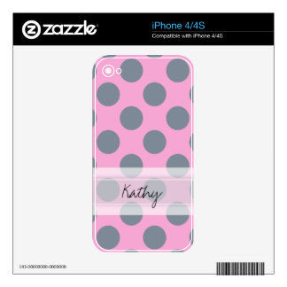Monogram Pink Gray Chic Polka Dot Pattern Decals For The iPhone 4S