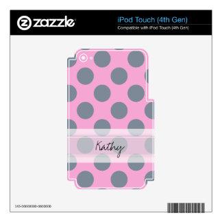 Monogram Pink Gray Chic Polka Dot Pattern iPod Touch 4G Skin