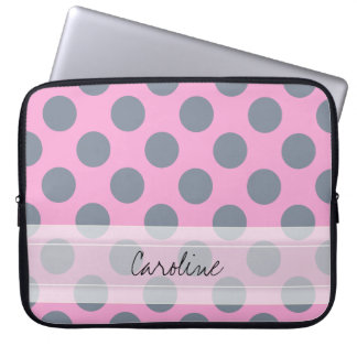 Monogram Pink Gray Chic Polka Dot Pattern Laptop Sleeve