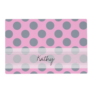 Monogram Pink Gray Chic Polka Dot Pattern Placemat