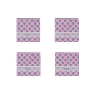 Monogram Pink Gray Chic Polka Dot Pattern Stone Magnet