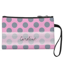 Monogram Pink Gray Chic Polka Dot Pattern Wristlet Wallet