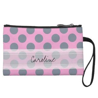 Monogram Pink Gray Chic Polka Dot Pattern Wristlet Wallet