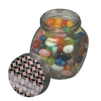 Monogram Pink Gray Geometric Ikat Square Pattern Glass Candy Jar