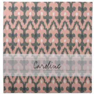 Monogram Pink Gray Geometric Ikat Tribal Pattern Cloth Napkin