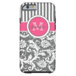 Monogram Pink Gray White Striped Damask iPhone 6 Case