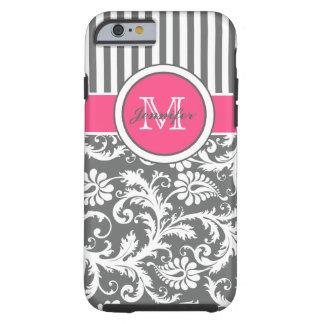 Monogram Pink Gray White Striped Damask Tough iPhone 6 Case