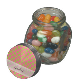 Monogram Pink Green Cute Chic Polka Dot Pattern Jelly Belly Candy Jars