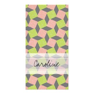 Monogram Pink Green Geometric Ikat Square Pattern Photo Card