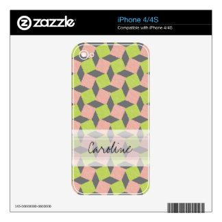 Monogram Pink Green Geometric Ikat Square Pattern Skins For iPhone 4S