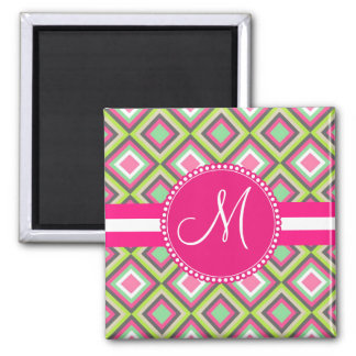Monogram Pink Green Gray Diamonds Square Pattern 2 Inch Square Magnet