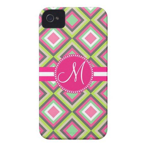 Monogram Pink Green Gray Diamonds Square Pattern Case-Mate iPhone 4 Case
