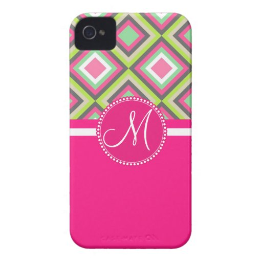 Monogram Pink Green Gray Diamonds Square Pattern iPhone 4 Case-Mate Cases