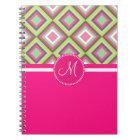 Monogram Pink Green Gray Diamonds Square Pattern Notebook
