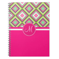 Monogram Pink Green Gray Diamonds Square Pattern Note Books