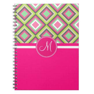Monogram Pink Green Gray Diamonds Square Pattern Note Books