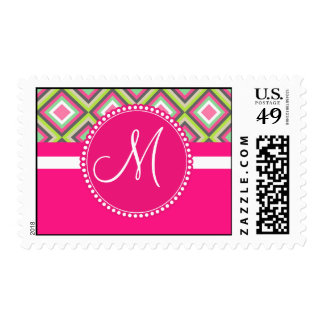 Monogram Pink Green Gray Diamonds Square Pattern Stamp