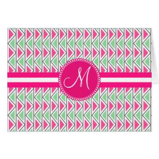 Monogram Pink Green Gray Triangle Tribal Pattern Card