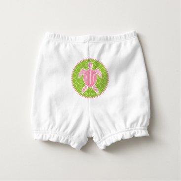 Beach Themed Monogram Pink   Green Sea Turtle Diaper Cover