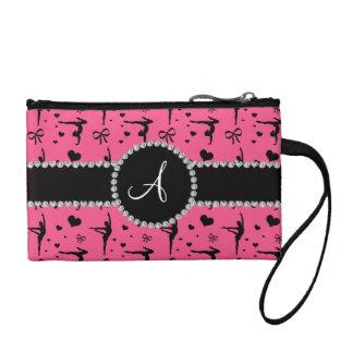 Monogram pink gymnastics hearts bows coin wallet