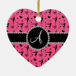 Monogram pink gymnastics hearts bows Double-Sided heart ceramic christmas ornament