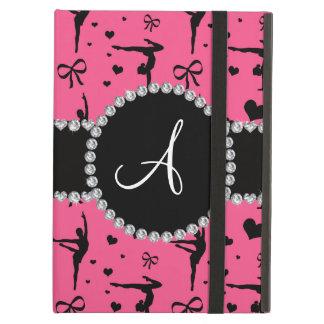 Monogram pink gymnastics hearts bows case for iPad air