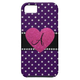 Monogram pink heart purple diamonds iPhone SE/5/5s case