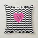 Monogram Pink Heart Volleyball Pillow