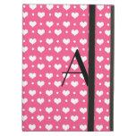 Monogram pink hearts and polka dots iPad cases