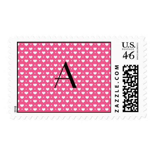 Monogram pink hearts and polka dots stamps