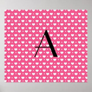 Monogram pink hearts and polka dots print