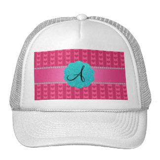 Monogram pink hearts and stripes mesh hats