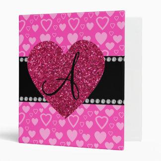 Monogram pink hearts binders