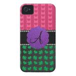 Monogram pink hearts green shamrocks iPhone 4 cover