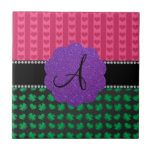 Monogram pink hearts green shamrocks ceramic tiles