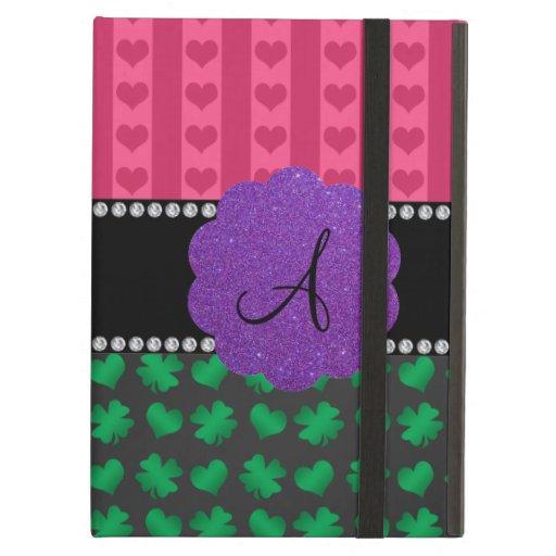 Monogram pink hearts green shamrocks iPad case
