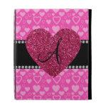 Monogram pink hearts iPad cases