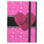 Monogram pink hearts iPad cover