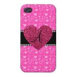 Monogram pink hearts iPhone 4 cases